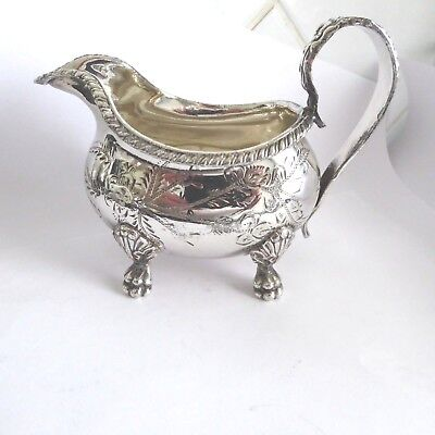 Antique Silver Plate Bm Chased Decoration Cream Milk Jug Pitcher 4 Paw Feet