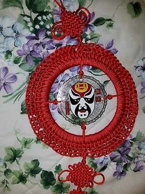 Chinese Ornamental Knot Work with mask Red Wall Sconce Art Decor