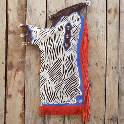 Zebra Hair On Leather Bronc Bull Riding Show Pro Rodeo Western Chaps Hsch102