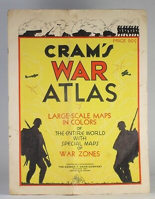 CRAM'S WAR ATLAS Actual 1939 Edition Pre-WW2, Just Before Hitler Invaded Poland