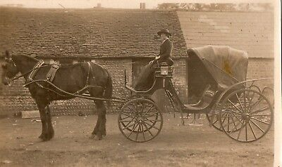 Vintage Real Photo postcard  Lady & Carriage early 1900's