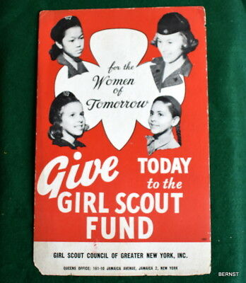 """VINTAGE  GIRL SCOUT - c.1950's GIRL SCOUT FUND STORE POSTER - 11 x 17"""""""