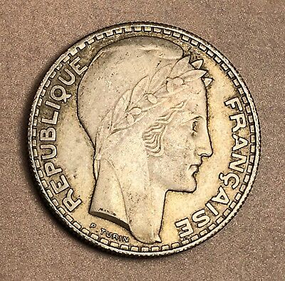 1933 France Silver 20 Francs. Collector Coin For Your Collection Or Set.