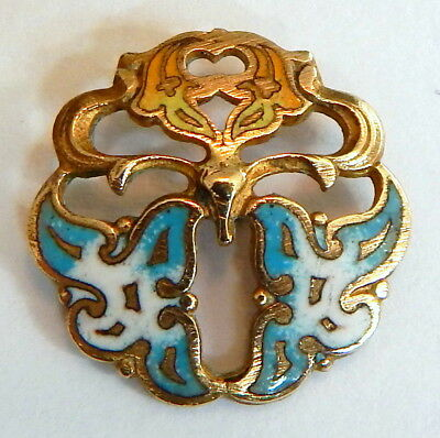 BEAUTIFUL ANTIQUE 1890's FRENCH GILT BRASS ART NOUVEAU CHAMPLEVE ENAMEL BUTTON