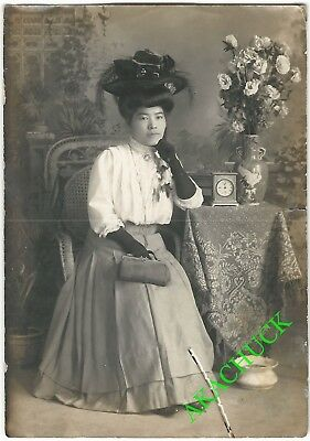 1900s Antique Photo EDWARDIAN JAPANESE AMERICAN WOMAN San Francisco SPITTOON