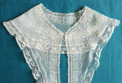 Antique  fine whitework and bobbin lace collar - altered