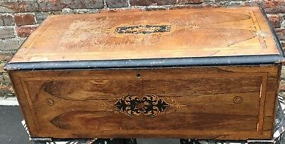 Large antique victorian Walnut Inlaid Marquetry Music Musical Box Case Carcase