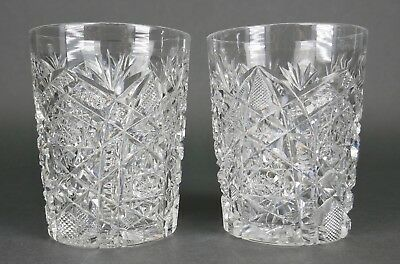 Fine Antique AMERICAN BRILLIANT Cut Crystal ABP Water Cup Set Of 2 19th Century