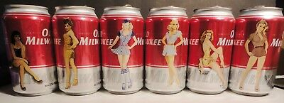Old Milwaukee Original Set of 6 Empty Pin Up Girl Beer Tin Now Out of Production