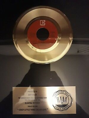 """RIAA GOLD Award - Queen """"Crazy Little Thing Called Love"""" Presented to Jeff Knox"""