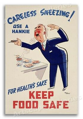 Unusual 1950s Vintage Health Poster 16x24 Disease Spreads by Finger Licking