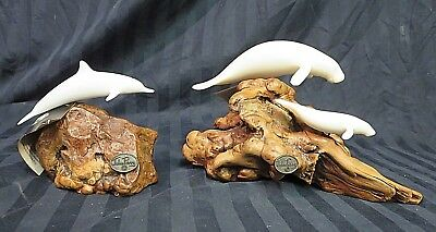 John Perry Sculptures: 2 Manatees and Dolphin Figurines on Burl Wood