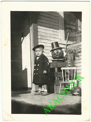 1930s Two Vintage Photos HALLOWEEN PUMPKINS & JAPANESE BOY TODDLER Front Porch A