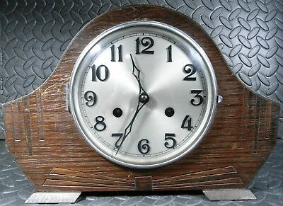 "Working Vintage Clock - Art Deco Period Wooden Mantel Clock Marked Foreign ""rt"""