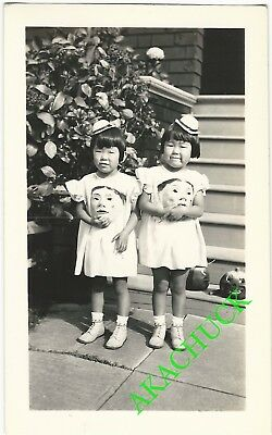 1930s Two Vintage Photos HALLOWEEN JAPANESE TWINS with SCARY MASKS & HORNS H