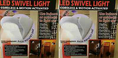 2 x Motion Activated LED Swivel Light Indoor / Outdoor Wireless Night Security