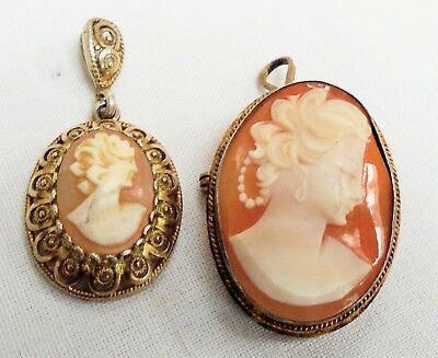 Fine vintage gilded sterling silver & carved shell cameo pendant + brooch