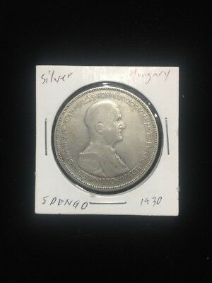 1930 Hungary 5 pengo Silver Foreign Coin
