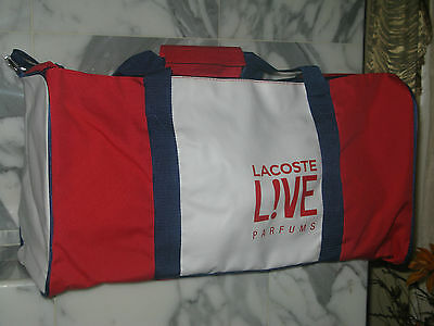 Lacoste 'L!VE' Red, White, and Blue Duffel/Gym Bag. New. Authentic.