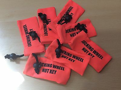 Locking Wheel Nut Key Bag - Fluorescent Orange - Easy To Find In Car