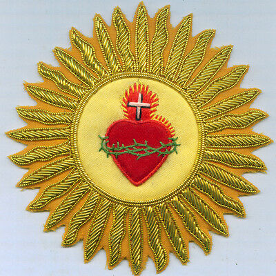 Jesus Christ Flaming Star Sacred Heart Catholic Church Vestment Stole Patch IHS