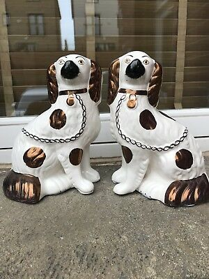Pair Of Staffordshire ? Antique Mantle Wally Dogs