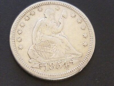 1854 P Arrows Seated Liberty Quarter