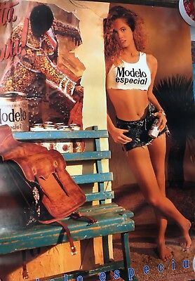 RARE MODELO BEER POSTER With Babe