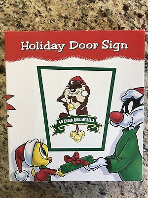Looney Tunes Taz Christmas Holiday Door Sign Go Ahead, Ring My Bell! RARE NEW