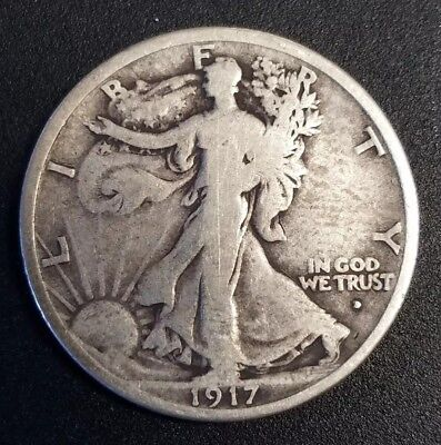 1917-D Obverse Mintmark Walking Liberty Half Dollar BETTER DATE Type 1 VG