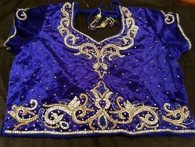 Girls Size 36 Blue and Cream Lengha Indian