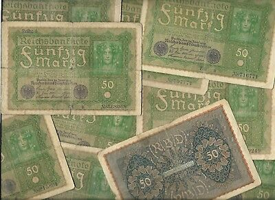 Rare Old Funfzig Mark German Post WWI War Berlin Note Germany Big Collection Lot
