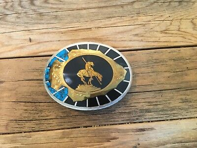 """Johnson And Held """"End of The Trail"""" Western Belt Buckle"""
