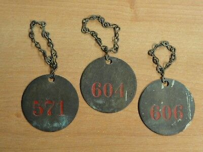 "Lot of (3) Vintage Brass Numbered 2"" Round Tags with Chains Steampunk"
