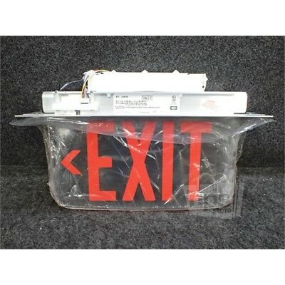 Hubbell LECSRLNEI Dual-Lite Edge-Lit LED Exit Sign, 120/277VAC, Red