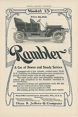 1906 Rambler Auto Ad Model 15 $2500 35hp Power & Steady Service Kenosha