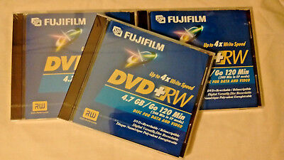 Lot ~ 3 x FUJIFILM DVD-RW 4.7 GB / 120 Min. Re-Recordable Data & Video Discs NEW