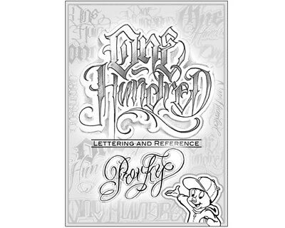 One Hundred by Tattoo Artist Porky Lettering Design Art Flash Book 60-Pages