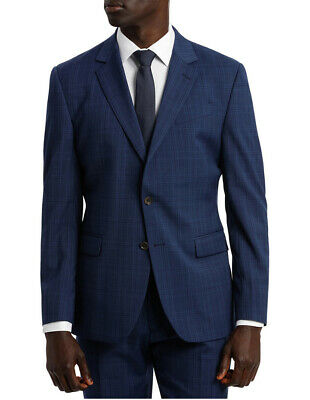 NEW Jeff Banks Ivy League Check Stretch Suit Jacket Navy