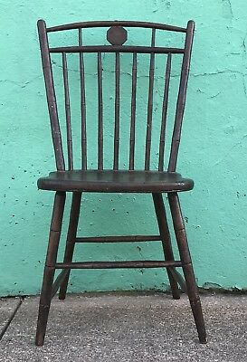 Antique Windsor bamboo bird cage spindle back side chair