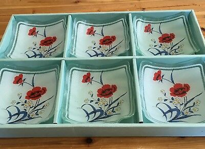 6 Vintage Glass Dessert Bowls Red Flowers Square Shaped Set Of Six Original Box