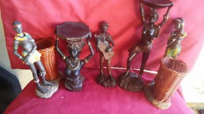 5 ebony wood carved african female figurines. hand carved & painted