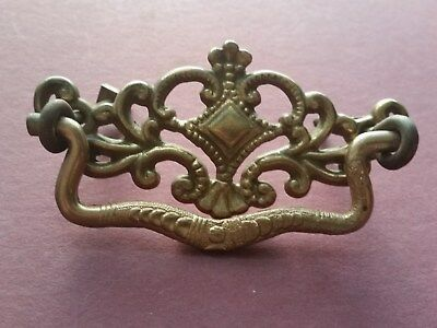 Antique Victorian Solid Brass Drawer Pull with Bail