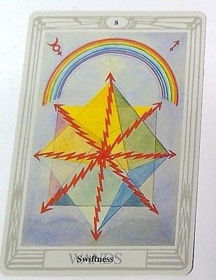 Swiftness 8 Wands single tarot card Crowley Large Thoth Tarot 1996 AGM Agmuller