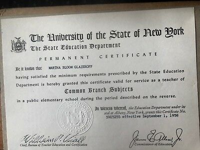 1958 Permanent Teaching Certificate From University Of The State Of New York