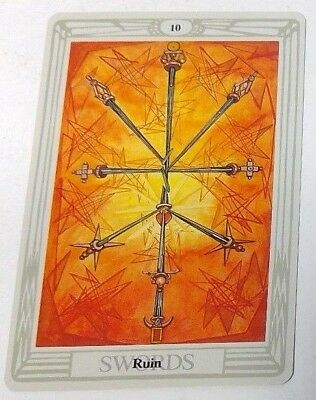 Ruin 10 Swords single tarot card Crowley Large Thoth Tarot 1996 AGM Agmuller