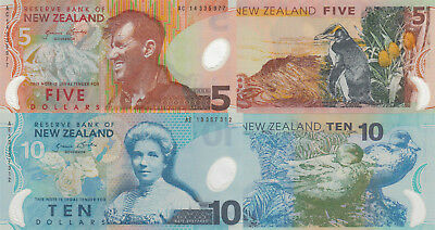 New Zealand 2 Note Set: 5 and 10 Dollars (2014/2013) - p185, p186