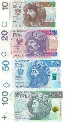 Poland 4 Note Set: 10 to 100 Zlotych (5.1.2012) - p183, p184, p185, p186 UNC