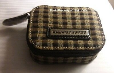 NEW 2-piece Longaberger Zippered-PILL-VITAMIN-Makeup CASE-BAG n Khaki Check RARE