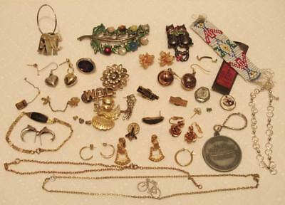 Jewelry Lot Rhinestones Brooch Pins Earrings 925 Sterling Medals Beads Chains